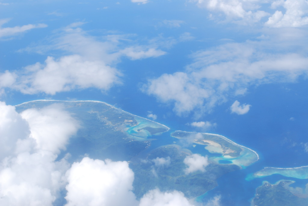 A view of some moth islands from the plane.