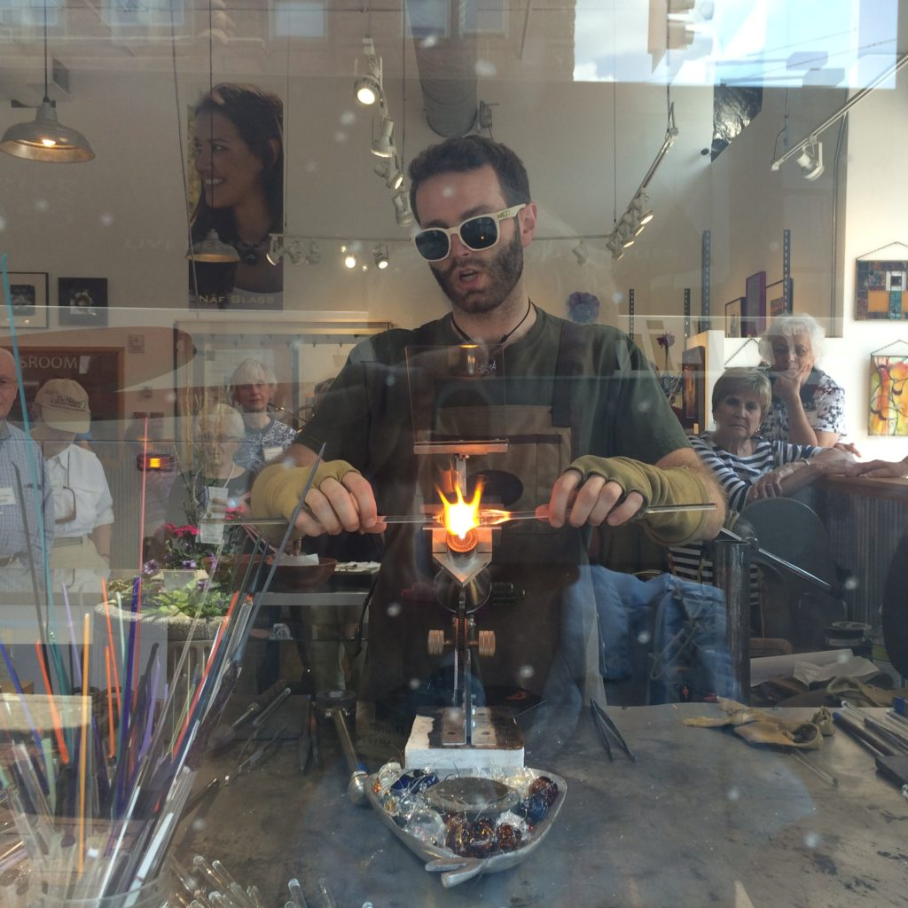 Glass blowing demonstration at Lake Superior Art Glass
