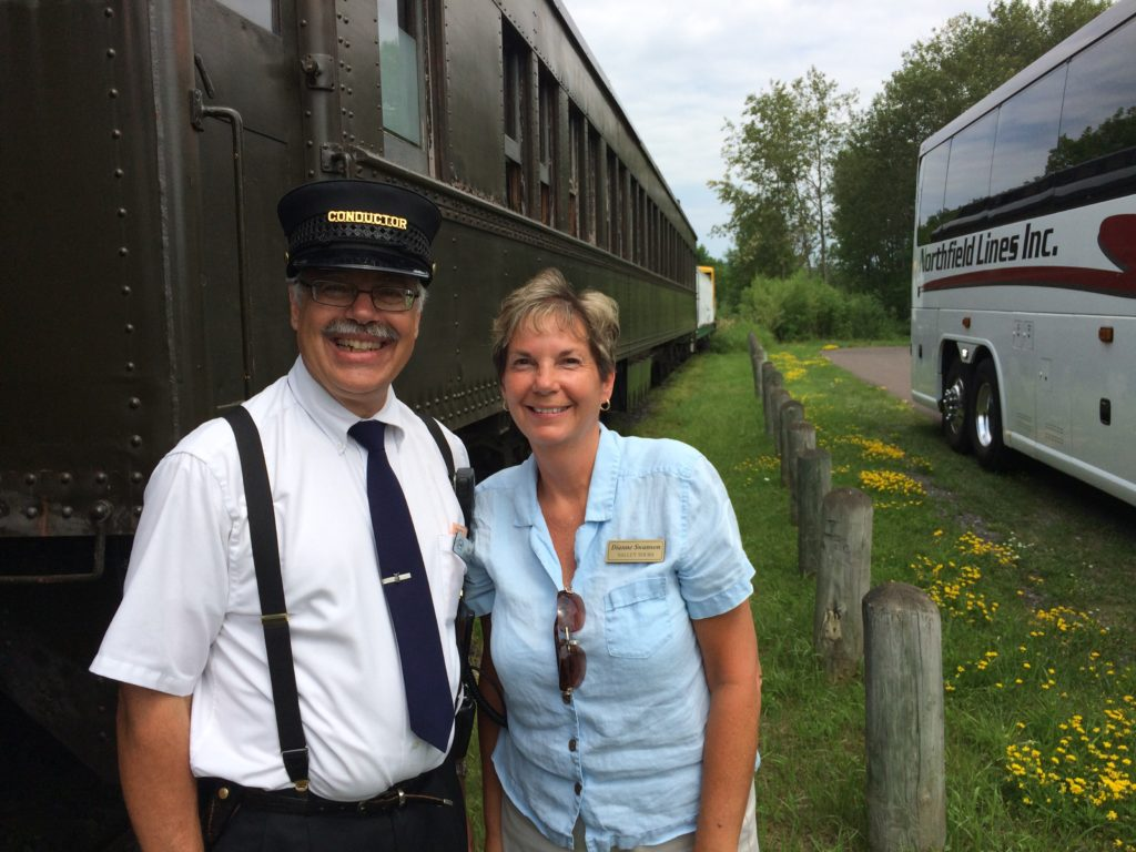 Yours truly with the railroad conductor